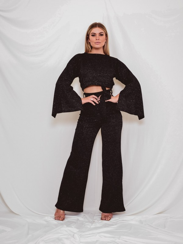 Lurex Split Sleeve Crop Top & Trouser Co-ord