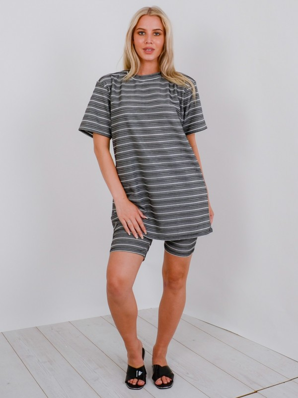 Oversized Ribbed T-Shirt & Shorts Co-ord