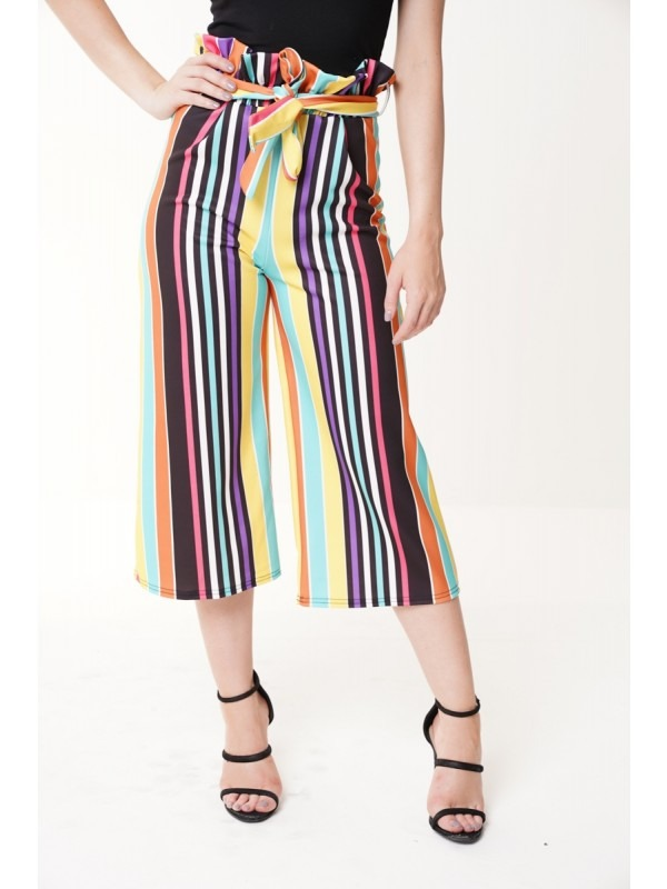 Rainbow Stripe Paper Bag Culotte Trousers