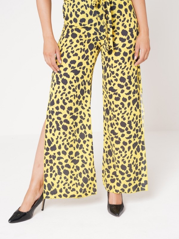 Leopard Print Side Split Belted Trousers