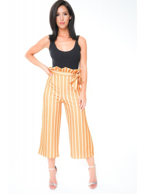 Paper Bag Tie Waist Striped Culotte Trousers