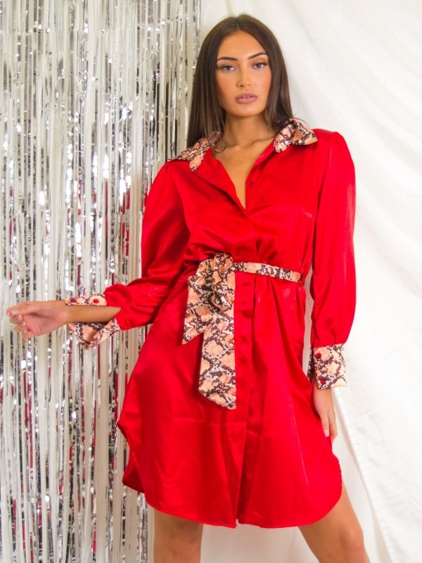 Snake Print Detail Satin Shirt Dress