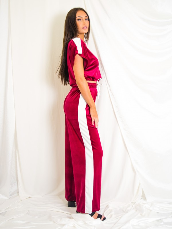 Velour Contrast Panel Boxy Drawstring Co-ord