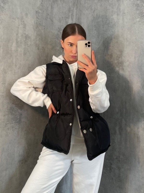 Silver Button Padded Gilet Waistcoat