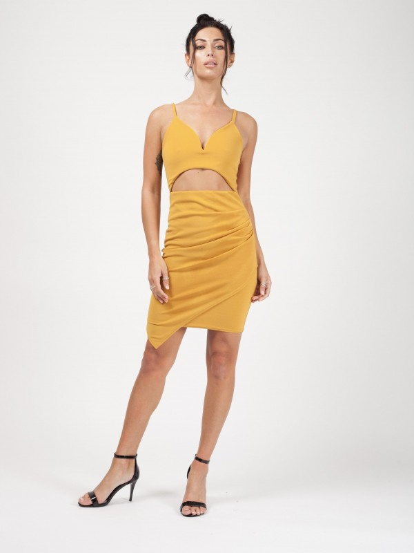 V-Bar Cut Out Front Cami Dress