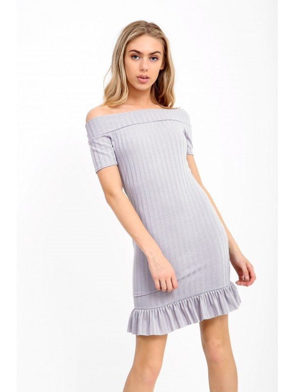 Frill Hem Ribbed Bardot Dress