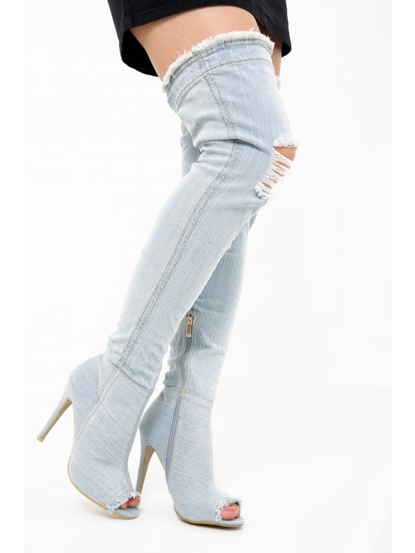 Denim Over The Knee Peep Toe Heel Boots