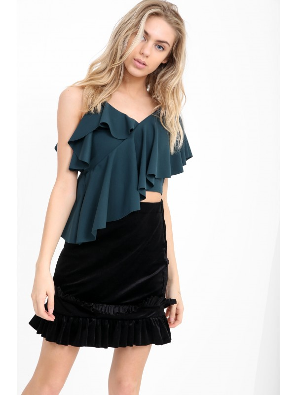 One Shoulder Asymmetric Frill Top