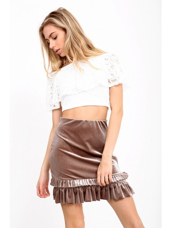Ruched Frill Hem Velvet Mini Skirt