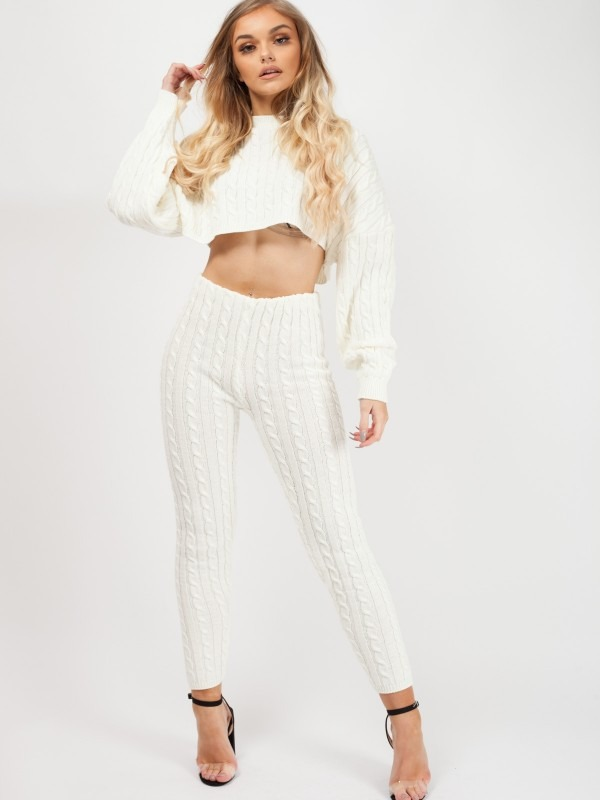Oversized Cable Knit Crop Top & Trouser Co-ord