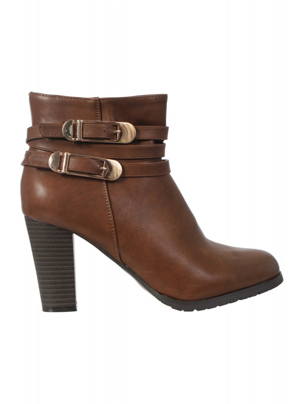 Faux Leather Heeled Buckle Zip Ankle Boots