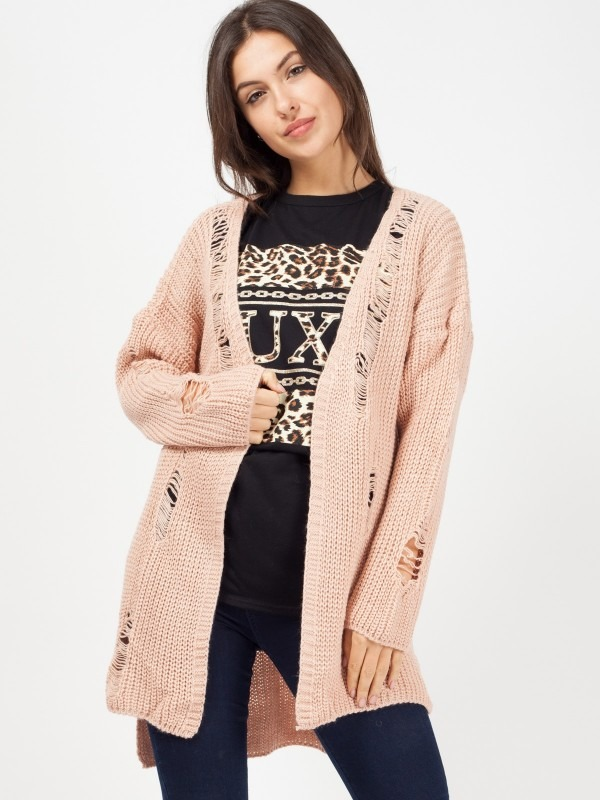 Distressed Knitted Open Cardigan