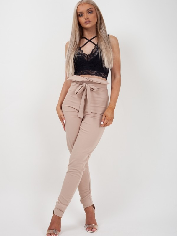 Tie Knot Front High Waist Trousers