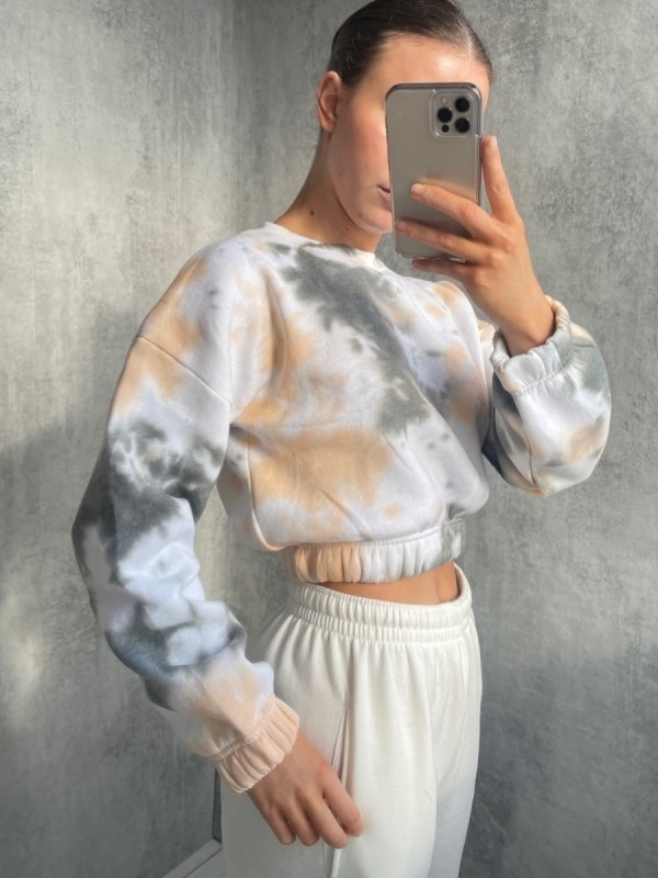 Tie-Dye Fleece Cropped Sweatshirt