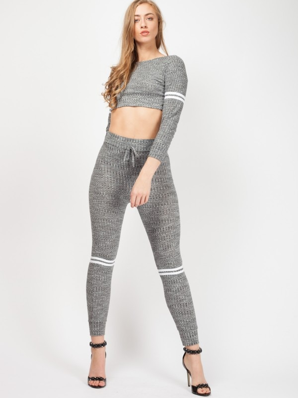 White Stripe Ribbed Co-ord