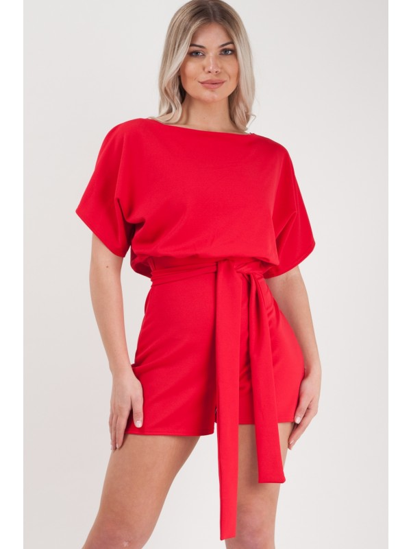 Batwing Style Belted Playsuit