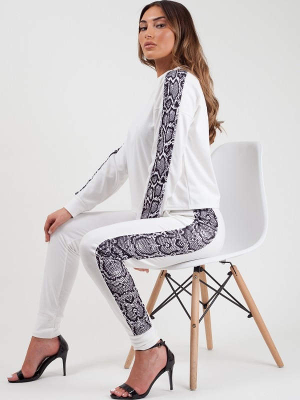 Snake Print Panel Loungewear Co-ord