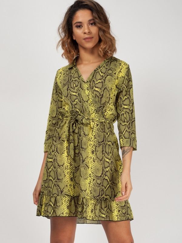 Snake Print Wrap Front Belted Dress
