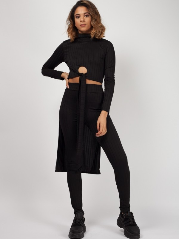 Dip Hem Crop Top & Trouser Ribbed Co-ord