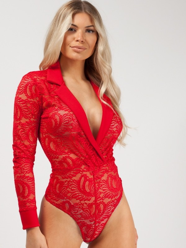 Lapel Detail Lace Bodysuit