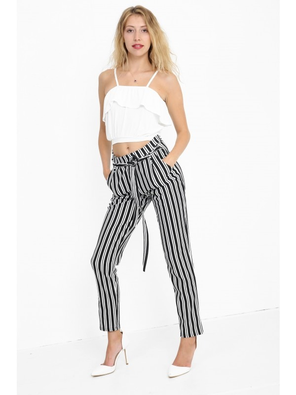 Striped Cigarette Trousers With Belt