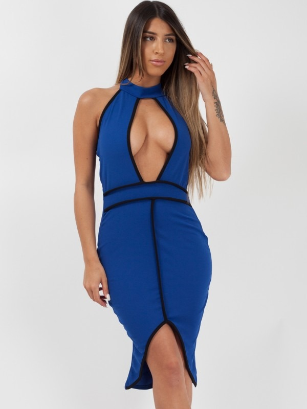 Contrast Trim Halterneck Bodycon Dress
