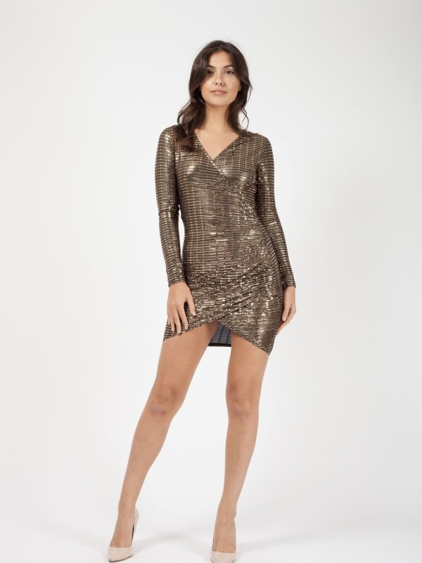 Wrap Front Ruched Sequin Dress