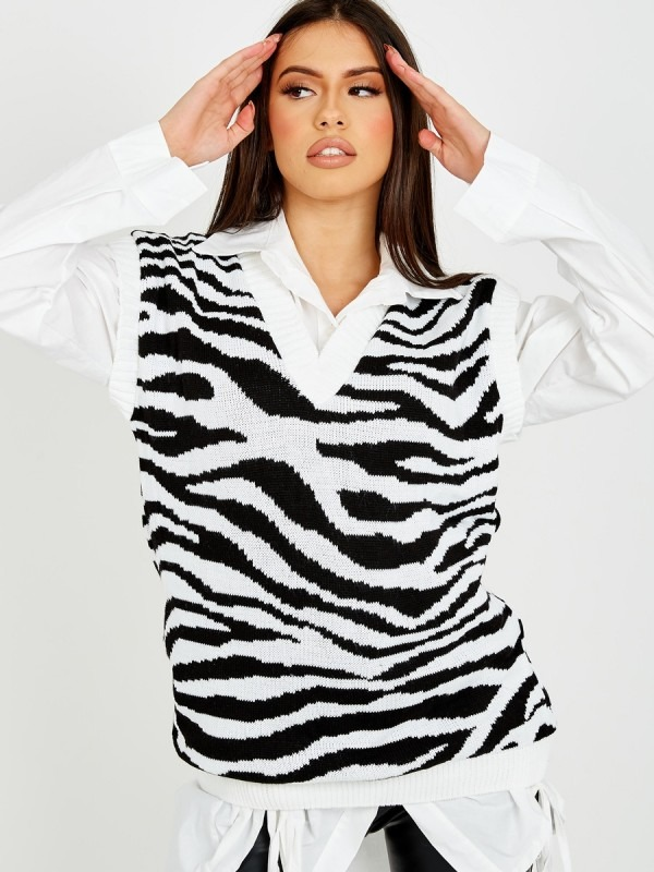 Zebra Print V-Neck Sleeveless Knitted Jumper