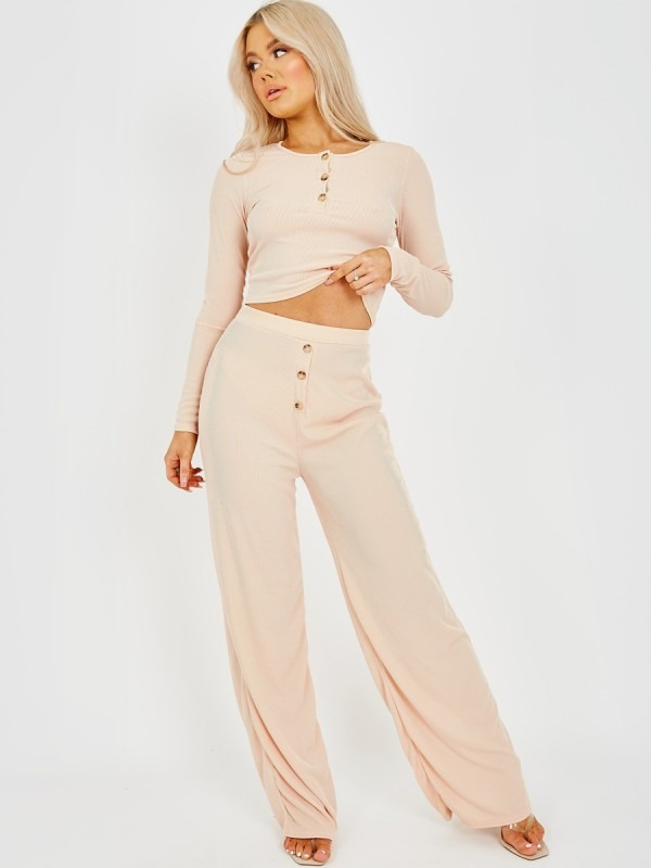 Button Detail Ribbed Co-ord