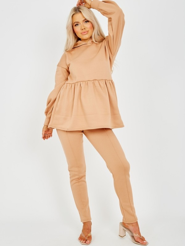Peplum Frill Hooded Fleece Co-ord