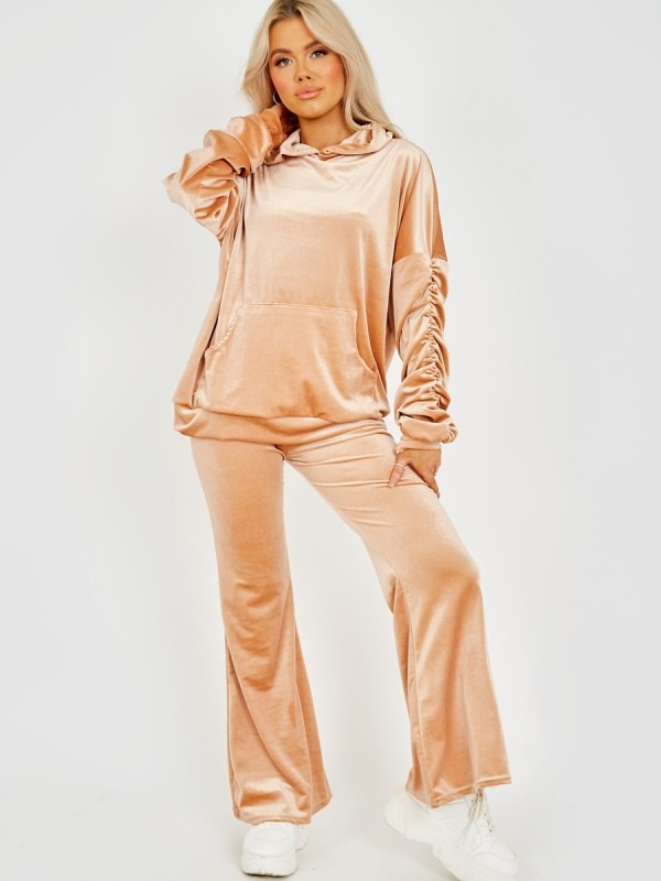 Velour Ruched Sleeve Hoodie & Flared Trouser Co-ord