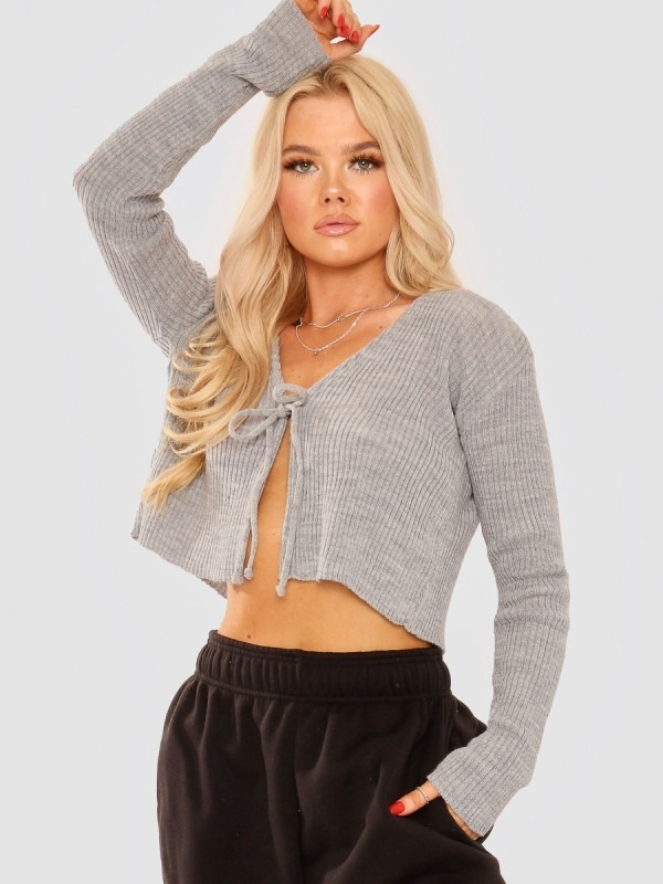 Tie Front Knit Cardigan Top