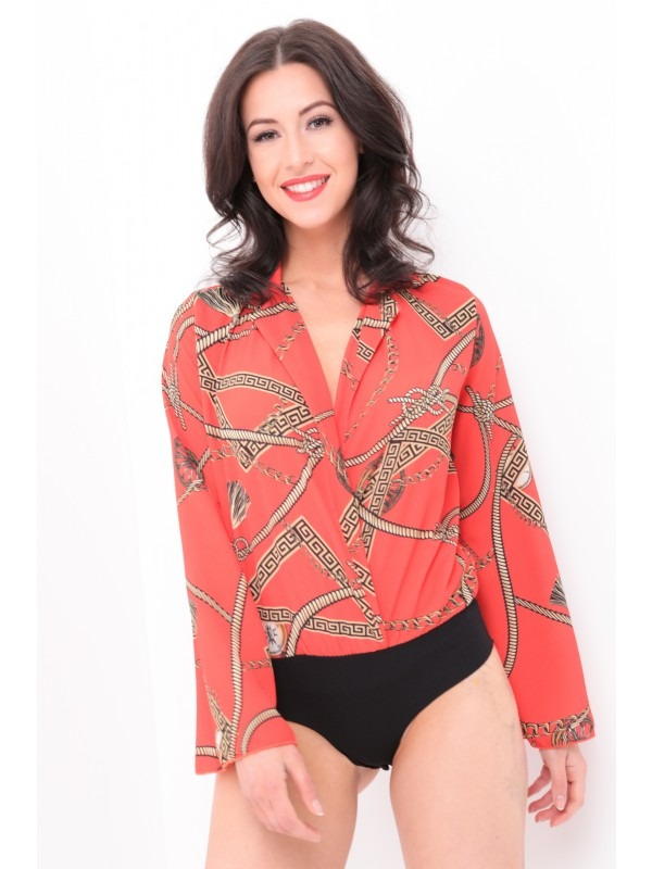 Pattern Chain Printed Wrap Front Bodysuit
