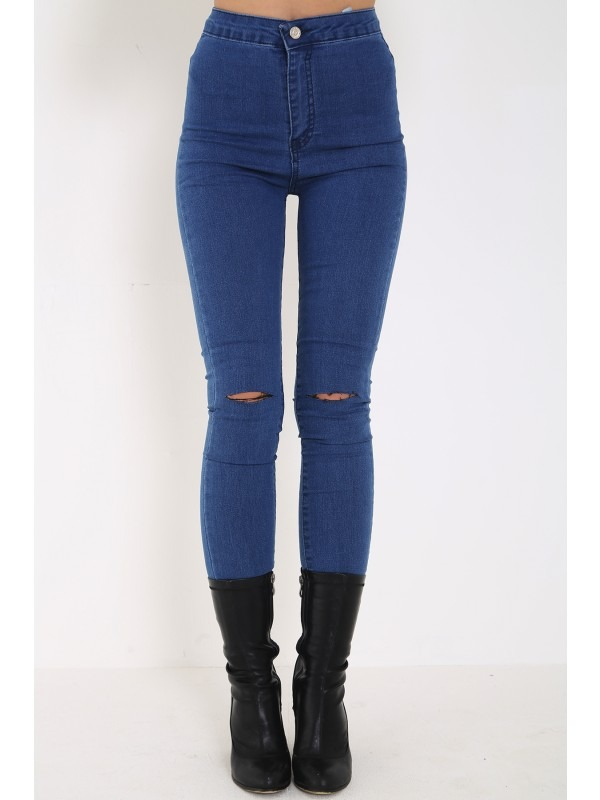 Distressed Knee Denim Trouser Pants