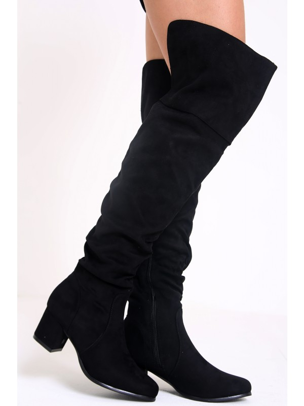 Faux Suede Over The Knee Heeled Boots