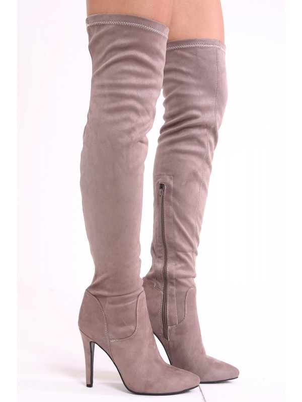 Faux Suede Pointed Toe Over The Knee Heeled Boots