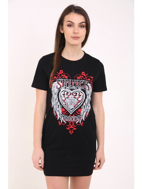 Slash Back Studded Heart Printed Longline T Shirt Dress