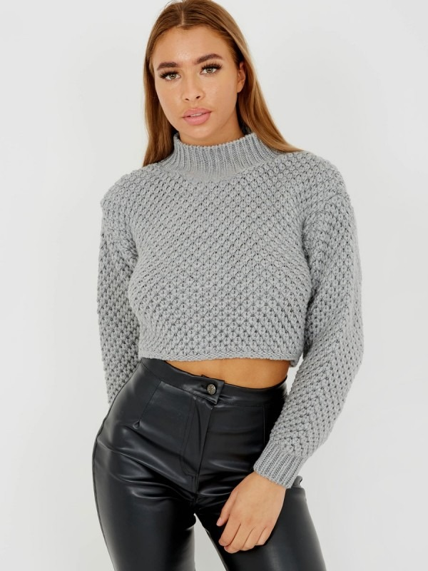 Bubble Knit High Neck Cropped Jumper