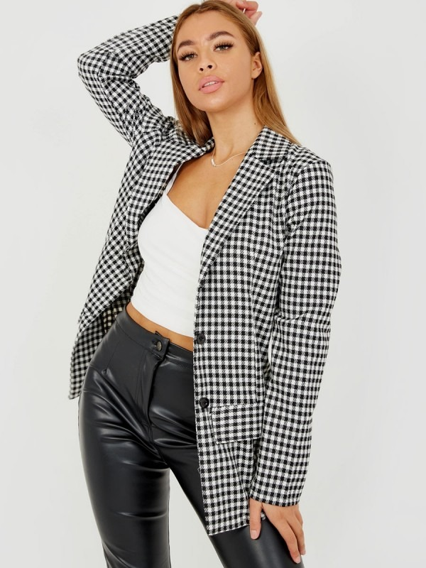 Longline Checked Blazer