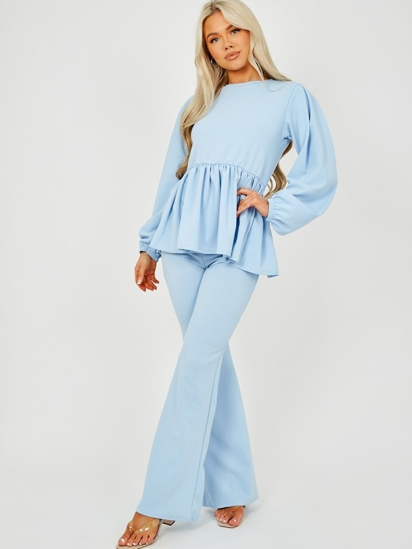 Peplum Frill Top & Wide Leg Trouser Co-ord