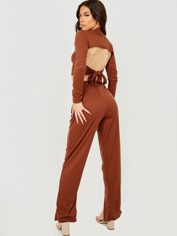 Tie Knot Back Ribbed Co-ord