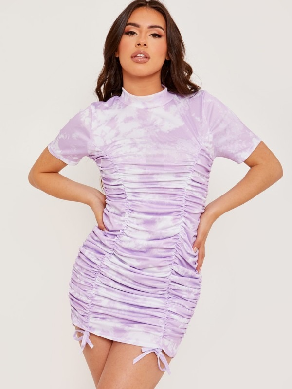 Tie-Dye Ribbed Ruched Dress