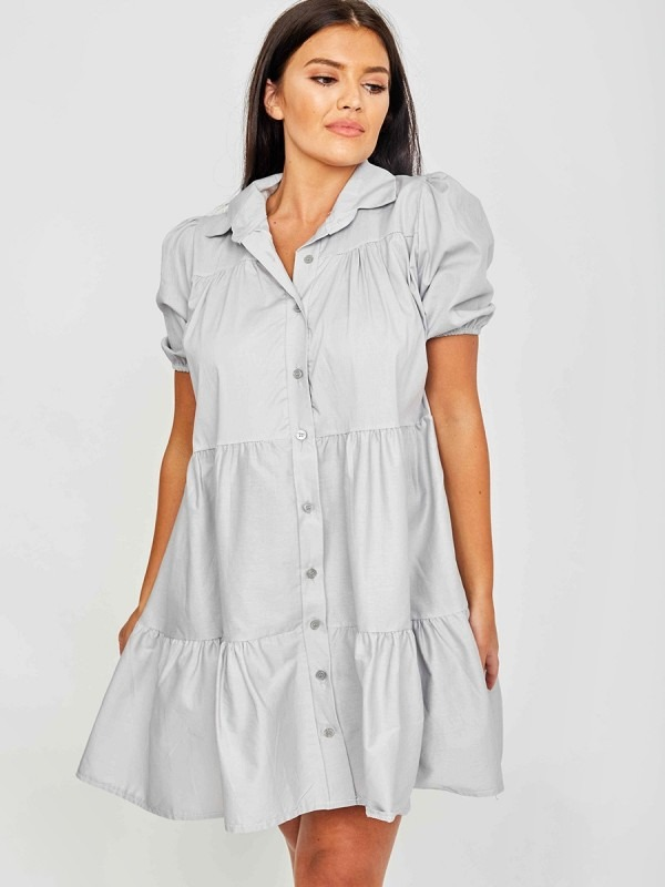 Button-Front Tiered Smock Dress