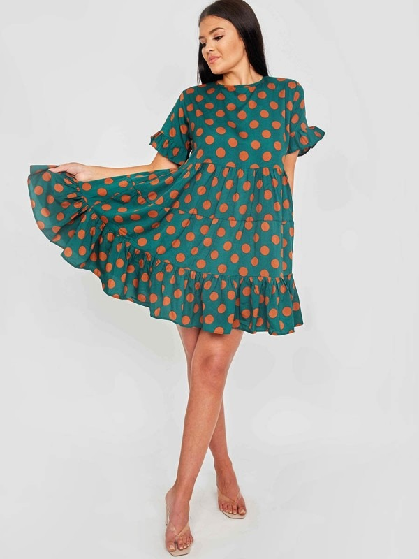 Circle Print Frill Tiered Smock Dress