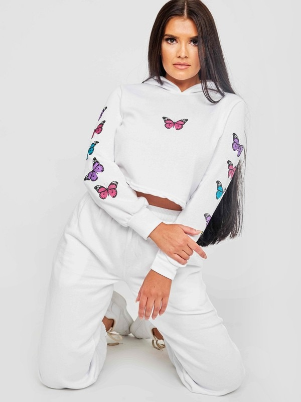 Butterfly Graphic Print Cropped Hoodie