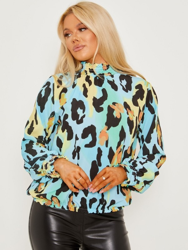 Leopard Print Frill Shirred High Neck Blouse