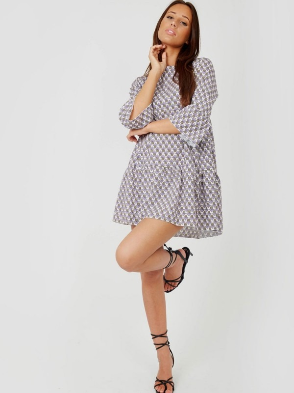 Pineapple Print Frill Tiered Smock Dress