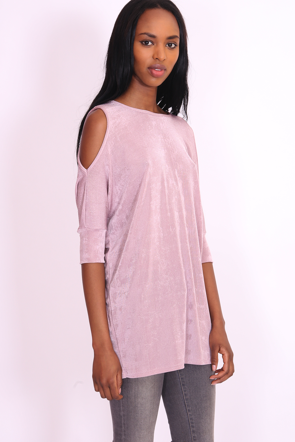Oversized acetate cold shoulder tunic dress top for Celebrity t shirts wholesale